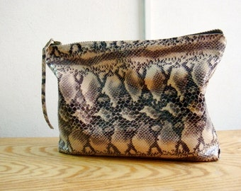 Oversized Snake Print Clutch, Real Leather Purse, Snake Clutch Bag