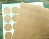 """150 Kraft 1.5"""" circles, recycled stickers, kraft brown stickers, 1 1/2 in. round stickers, grocery bag circle labels (5 sheets)"""