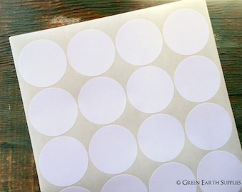 """100 Recycled White Stickers, 2"""" circles, recycled stickers, eco-friendly stickers, 2 in. (51mm) round labels  (5 sheets)"""