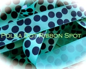 Silly Dots Ribbon 5 yards- 7/8  inch Tropic and Navy polka dot printed grosgrain hair bow craft ribbon