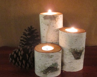 "18 Birch Bark Tea Light Candle Holder 7"",5"",3"" Tall   for your Wedding Centerpieces Home Decor"