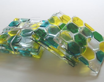 Green Yellow and Clear: beehive collection fused art glass coasters