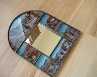 1960 Peru Made Hand Made Hand Painted Mirror Landscape Native People Glass Mirror Gold Trim Folk Antique