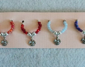 Wine Glass Charm, Wine Glass Marker, Party Accessory, Winery Gift, Holiday Gift, Housewarming Gift - Set of 6 -  ANGELS