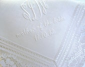 Wedding Handkerchief: White Irish Linen Handkerchief with Daisy Design Lace, 3-Initial Monogram, Mother of the Bride and Date