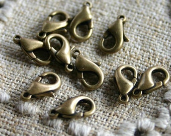 10pcs Clasp Lobster Claw Antiqued Bronze-Colored Brass 12x7mm