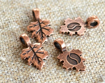 4pcs Bail Glue-on Antiqued Copper-Plated Pewter Leaf 16x11mm with 11x10mm Flat Base