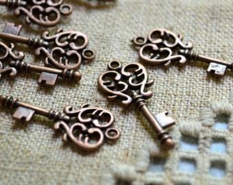 12pcs Key Charms Vintage Style Antiqued Copper Ox Plated Lead Free Pewter 30x13.5mm
