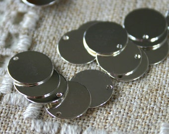 Coin Charms Drops Sterling Silver 17mm Flat Round Stamping