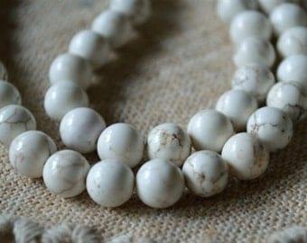 50pcs 8mm Magnesite Natural Gemstone Beads 16 Inches White