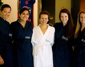 Bridesmaids Monogrammed Robes Personalized Bridesmaids Robes Thigh Length Set of 5 front embroidery included