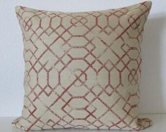 Candice Olson rustic red gold lattice designer pillow cover