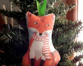 Red Fox Fabric Holiday Christmas Ornament