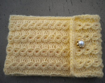 Hand Knit Small Tablet Cozy, Sleeve, Cover - Yellow