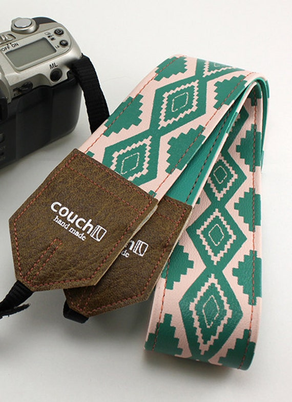 Southwestern Pink and Turquoise Camera Strap, Native American Navajo Inspired