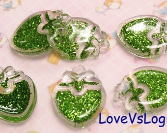 5 Puff Glitter Strawberry Lucite Charms.Glitter Green