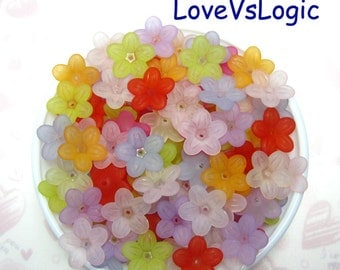 40 Acrylic Flower Beads Charms.Mix Matte Colors.