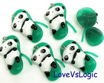 4 Baby Panda with Leaf Soft Plastic Charms.Kawaii.