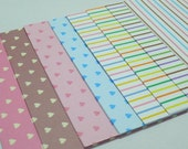 Pastel Hearts and Rainbow Stripes printed Paper Pack for Japanese Origami Project- 48 sheets