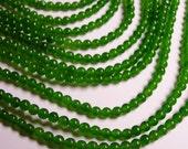 Jade - 4 mm round beads -1 full strand - 92 beads - color - green Jade