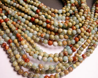 Impression Jasper -  6 mm round beads -1 full strand - 68 beads - A quality - RFG115