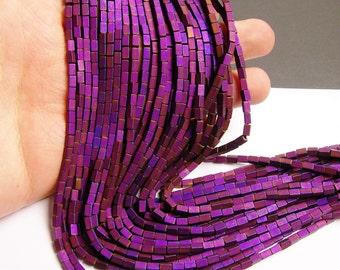 Hematite purple - 5mm rectangle beads -  full strand - 81 beads - AA quality - matte - 5x3 - PHG62