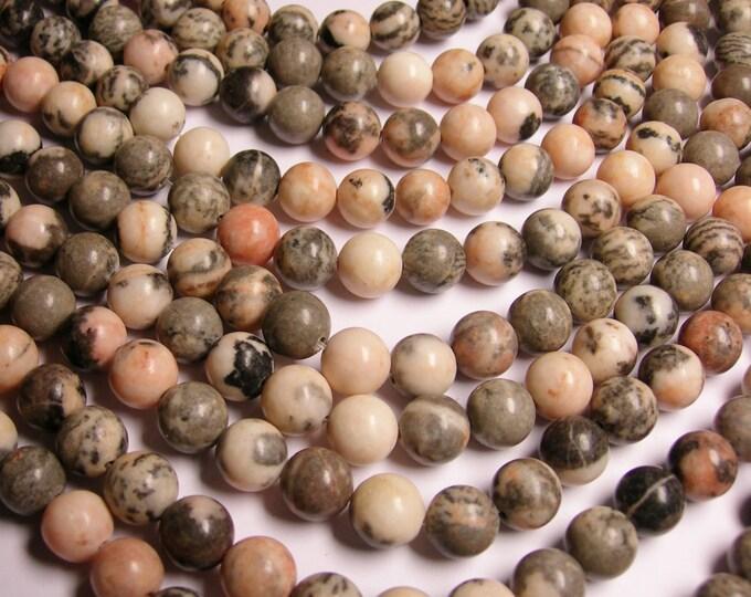 Pink zebra jasper- 12 mm round beads -1 full strand - 34 beads
