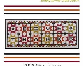 Cross Stitch PDF E pattern emailed Primitive Thanksgiving Pattern Sampler Design 134