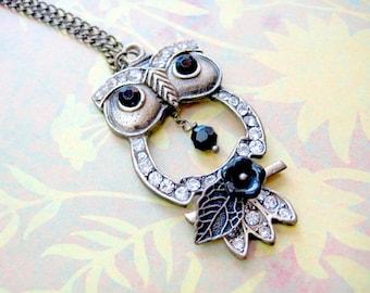 Owl Necklace - Rhinestone owl with flower
