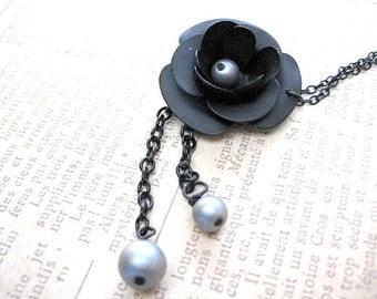 Black Rose Necklace,Rose Jewelry