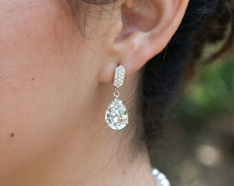 Crystal Swarovski Earrings Bridal Rhinestone Earrings teardrop earrings Statement Bridal Earrings Swarovski Crystal wedding Earrings DESTINY