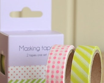 Tape-Washi Tape-Masking Tape-Pink Polka Dots-Lime Green Stripes-Gift Wrapping-Packing Tape-2 roll set