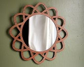 "12"" Geometric WALL VANITY MIRROR on Cherry Mid Century Modern Style Design with Ornate Wood Frame"
