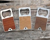 Keychain Bottle Opener - Real Wood faced Stainless Steel Key Fob  - Beer Keyring Ring Chain
