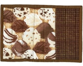 Ice Cream Mug Rug, handmade chocolate waffle cone scoop quilted snack mat table coaster mini-quilt
