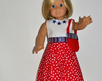American Girl Doll Clothes - Boston Red Sox Dress and Purse