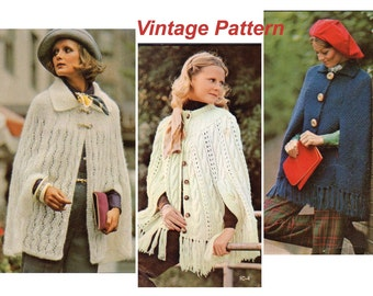 Knitting Pattern - Vintage 1980s Women Cape PDF Patterns - IC-3-4-5 - Instant Download