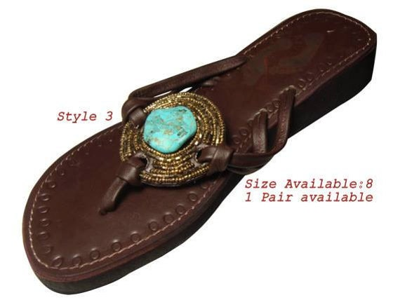 Handmade beaded leather sandals - Turquoise and dull gold