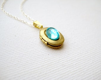 Locket necklace with blue glass on sterling silver chain - Treasured