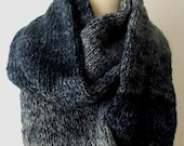 Infinity Scarf Circular Knit Tube Cowl In Navy Blue Grey Autumn Wnter Fashion for Men Women
