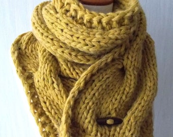 Chunky Scarf Big Cabled Mustard Yellow Golden Cowl Hand Knitted