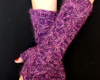 Fingerless Gloves Cabled Warm Arm Warmers Purple Pink Violet Merino Kid Mohair