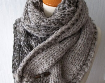 Chunky Scarf Knit Warm Cowl Winter Cabled in Light / Brown Tones