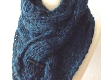 Chunky Scarf Big Cabled Dark Navy Sea Blue Cowl Hand Knitted