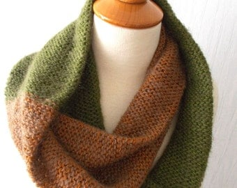 Circle Scarf  Knitted Infinity Scarf In Copper Brown and Green with Kid Mohair SALE