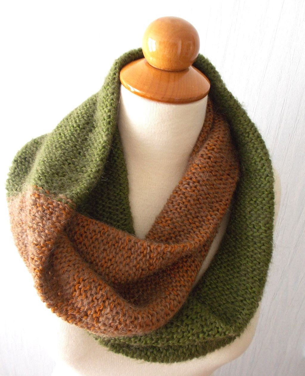 Knitting Patterns Circle Scarf Free : Circle Scarf Knitted Infinity Scarf In Copper Brown and Green