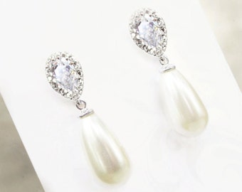 Pearl bridal earrings on Etsy, pear shape tear drop, crystal bridal earring studs - Emma