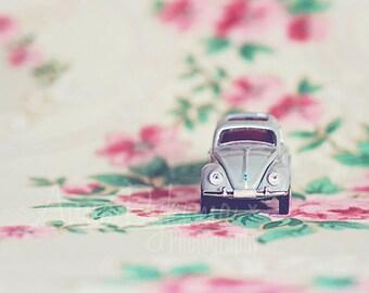 Modern Wall Art - V-Dub Bug - Fine Art Photography volkswagon VW beetle pink green cream toy car photography