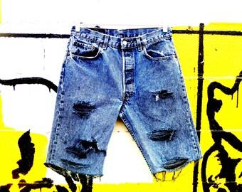 Vintage 90's Acid-Washed Destroyed Denim Cut-Off Levi's 501 Jean Shorts Waist 31