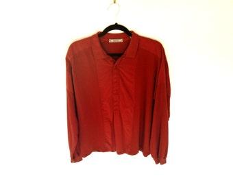 Vintage 90's Maroon Long Sleeve Polo Shirt with Alternating Fabrics by Menz® Men's Medium